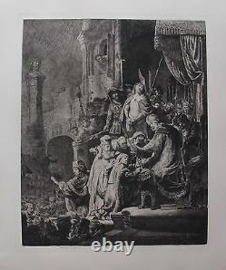 REMBRANDT CHRIST BEFORE PILATE Amand Durand Plate Signed Art Etching