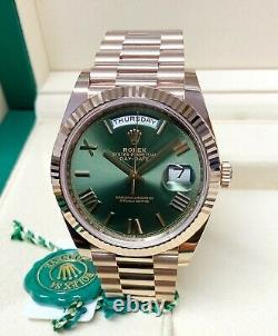 Rolex Day Date 40mm 228235 Rose Gold Green Roman Dial 2019 WITH PAPERS